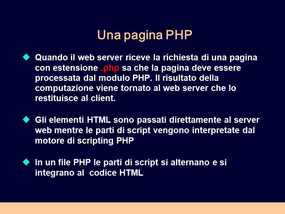 Una pagina PHP  Quando il web server riceve la richiesta di una pagina con estensione.php sa che la pagina deve essere processata dal modulo PHP. Il