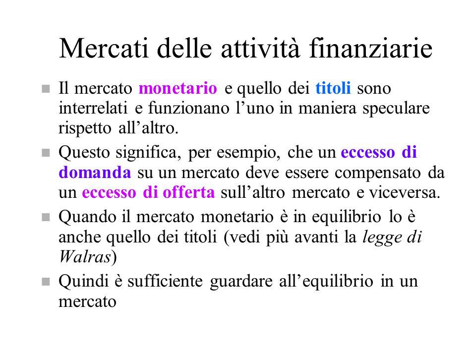 Mercati delle attività finanziarie n Il mercato monetario e quello dei titoli sono interrelati e funzionano l'uno in maniera speculare rispetto all'al