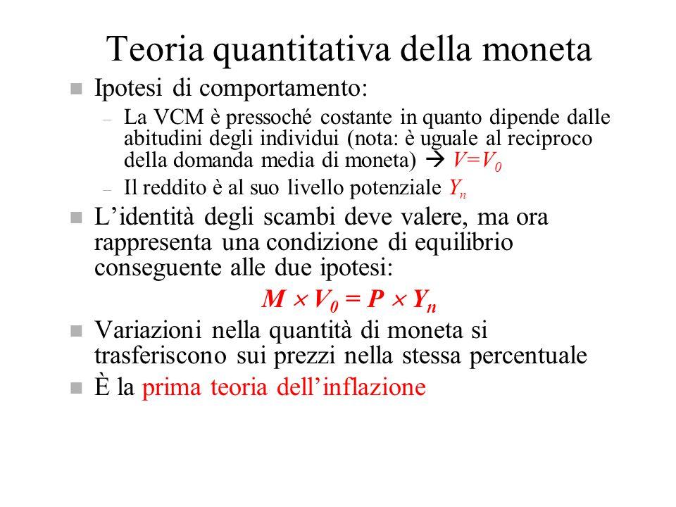 Teoria quantitativa della moneta n Ipotesi di comportamento: – La VCM è pressoché costante in quanto dipende dalle abitudini degli individui (nota: è