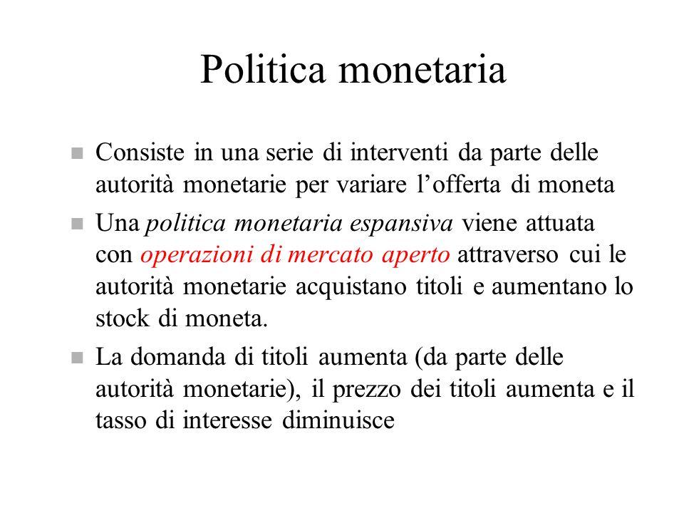 Politica monetaria n Consiste in una serie di interventi da parte delle autorità monetarie per variare l'offerta di moneta n Una politica monetaria es