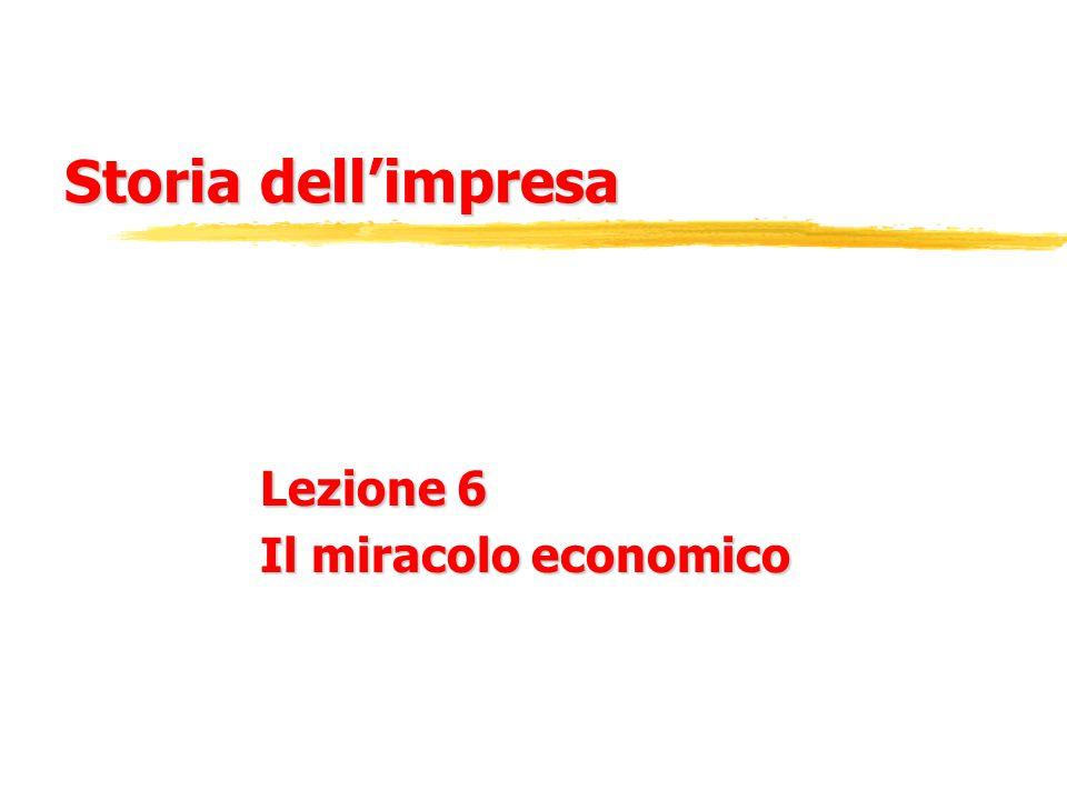 Storia dell'impresa Lezione 6 Il miracolo economico