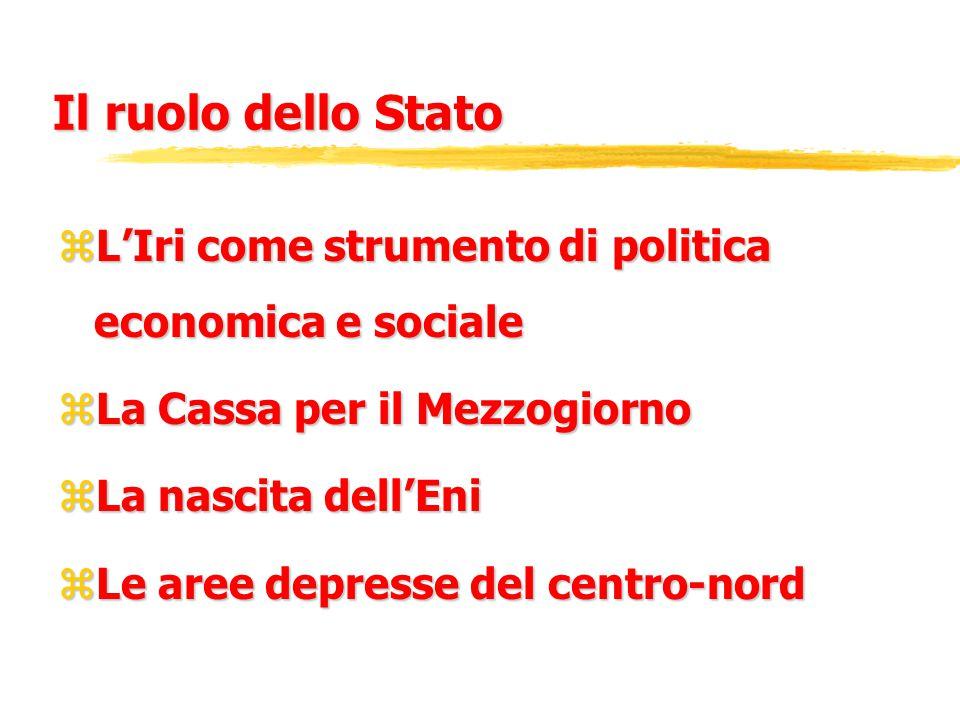 Il ruolo dello Stato zL'Iri come strumento di politica economica e sociale zLa Cassa per il Mezzogiorno zLa nascita dell'Eni zLe aree depresse del cen