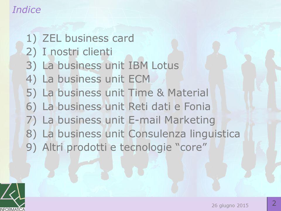 3 26 giugno 2015 1/ZEL Business Card Chi siamo