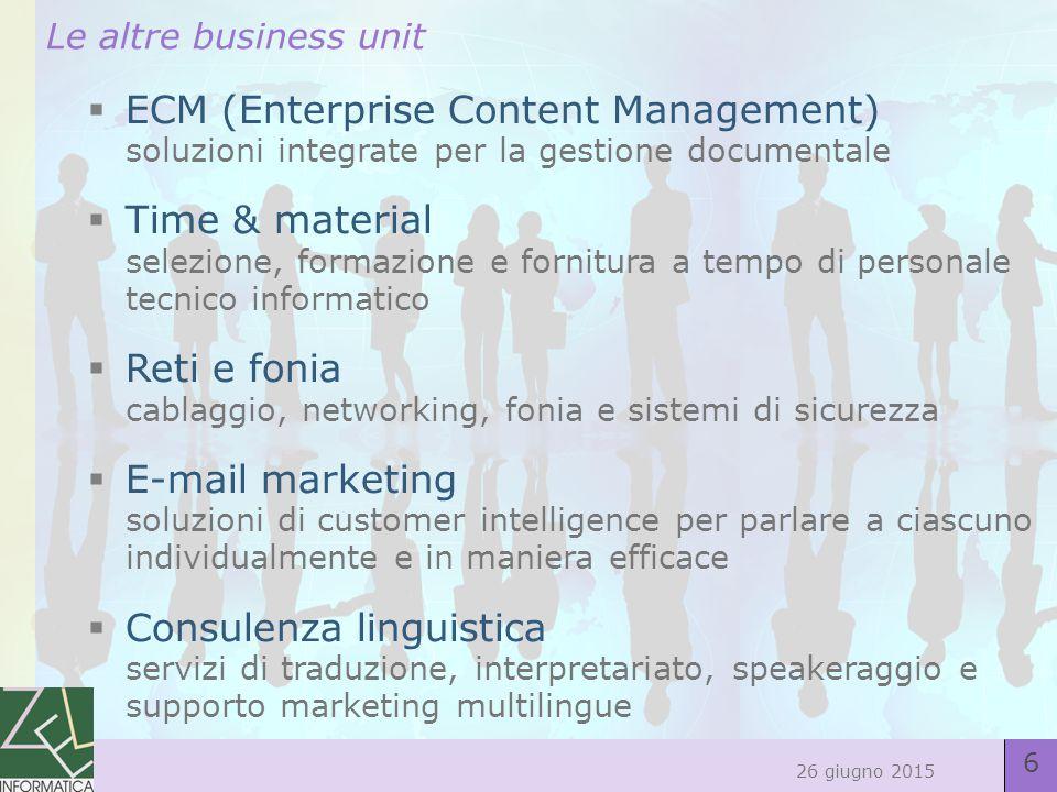 27 26 giugno 2015 7/La business unit E-mail Marketing