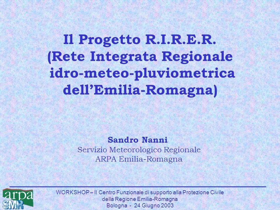 WORKSHOP – Il Centro Funzionale di supporto alla Protezione Civile della Regione Emilia-Romagna Bologna - 24 Giugno 2003 Sandro Nanni Servizio Meteoro