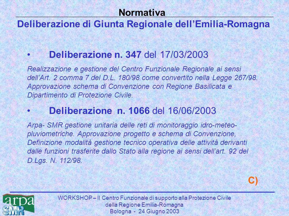 WORKSHOP – Il Centro Funzionale di supporto alla Protezione Civile della Regione Emilia-Romagna Bologna - 24 Giugno 2003 Normativa Deliberazione di Giunta Regionale dell'Emilia-Romagna Deliberazione n.
