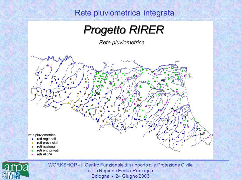 WORKSHOP – Il Centro Funzionale di supporto alla Protezione Civile della Regione Emilia-Romagna Bologna - 24 Giugno 2003 Rete pluviometrica integrata