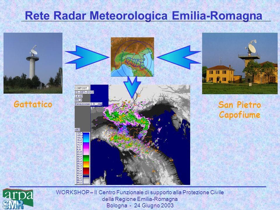 WORKSHOP – Il Centro Funzionale di supporto alla Protezione Civile della Regione Emilia-Romagna Bologna - 24 Giugno 2003 Rete Radar Meteorologica Emilia-Romagna GattaticoSan Pietro Capofiume