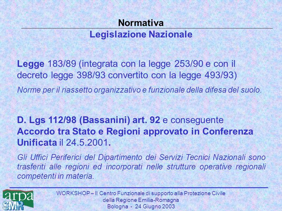WORKSHOP – Il Centro Funzionale di supporto alla Protezione Civile della Regione Emilia-Romagna Bologna - 24 Giugno 2003 Reti in telemisura meteo-idropluviometriche Situazione in Emilia-Romagna (anno 2001) Presenza di più Enti, pubblici e privati, gestori di reti: Pubblici - Ex Uffici Compartimentali SIMN Bologna e Parma – 88 stazioni - Ex Magipo - 9 stazioni - RER (Servizi Tecnici di Bacino e Protezione Civile) – 90 stazioni - ARPA (Servizio Meteorologico e Sezioni Provinciali) – 33 stazioni - Province e Comuni - 51 stazioni Privati - Consorzi di Bonifica – 415 stazioni Reti installate nel corso degli anni in maniera scarsamente coordinata, che assolvono compiti diversi e/o parzialmente coincidenti.