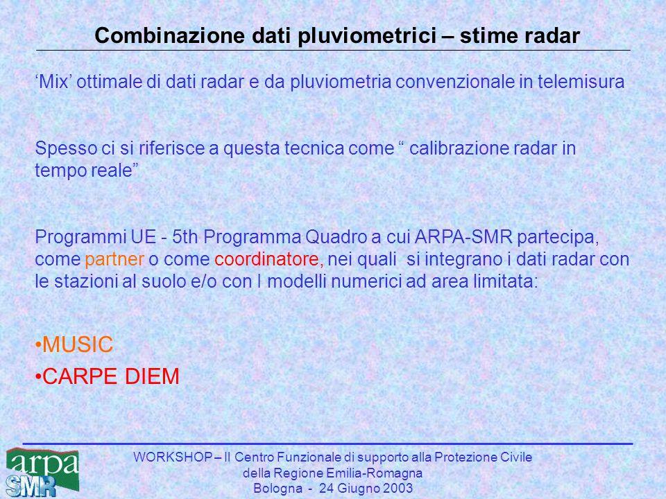 WORKSHOP – Il Centro Funzionale di supporto alla Protezione Civile della Regione Emilia-Romagna Bologna - 24 Giugno 2003 Combinazione dati pluviometrici – stime radar 'Mix' ottimale di dati radar e da pluviometria convenzionale in telemisura Spesso ci si riferisce a questa tecnica come calibrazione radar in tempo reale Programmi UE - 5th Programma Quadro a cui ARPA-SMR partecipa, come partner o come coordinatore, nei quali si integrano i dati radar con le stazioni al suolo e/o con I modelli numerici ad area limitata: MUSIC CARPE DIEM