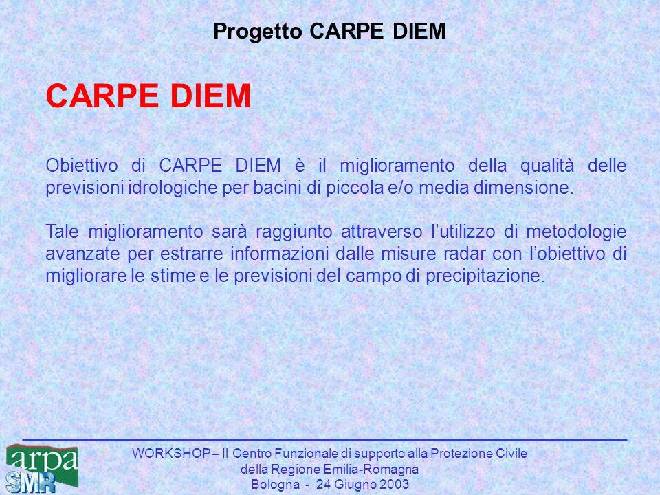 WORKSHOP – Il Centro Funzionale di supporto alla Protezione Civile della Regione Emilia-Romagna Bologna - 24 Giugno 2003 Progetto CARPE DIEM CARPE DIEM Obiettivo di CARPE DIEM è il miglioramento della qualità delle previsioni idrologiche per bacini di piccola e/o media dimensione.