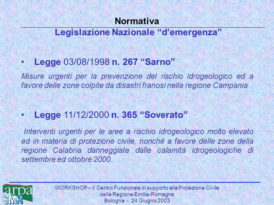 WORKSHOP – Il Centro Funzionale di supporto alla Protezione Civile della Regione Emilia-Romagna Bologna - 24 Giugno 2003 Normativa Legislazione Nazion