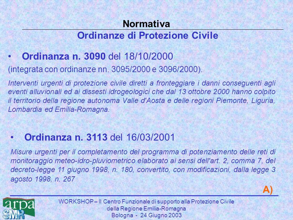WORKSHOP – Il Centro Funzionale di supporto alla Protezione Civile della Regione Emilia-Romagna Bologna - 24 Giugno 2003 Normativa Ordinanze di Protez