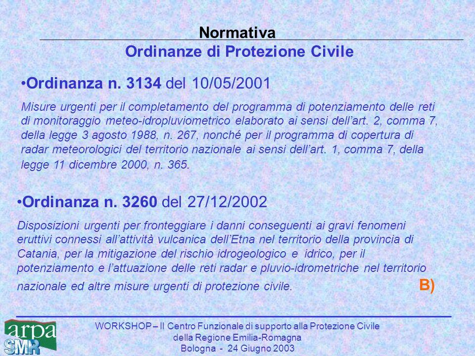 WORKSHOP – Il Centro Funzionale di supporto alla Protezione Civile della Regione Emilia-Romagna Bologna - 24 Giugno 2003 Ordinanza n. 3134 del 10/05/2