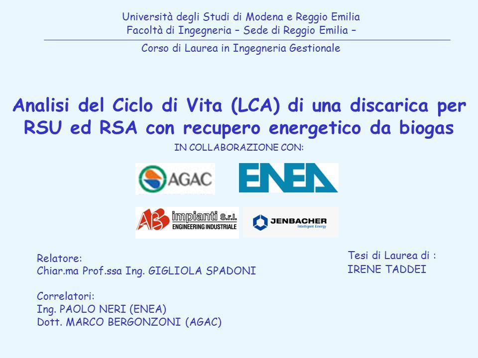 Università degli Studi di Modena e Reggio Emilia Facoltà di Ingegneria – Sede di Reggio Emilia – Corso di Laurea in Ingegneria Gestionale Analisi del