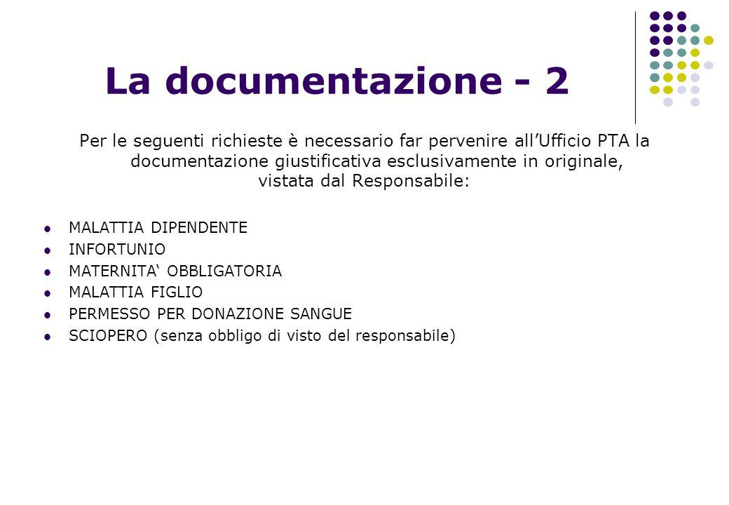 La documentazione - 2 Per le seguenti richieste è necessario far pervenire all'Ufficio PTA la documentazione giustificativa esclusivamente in original