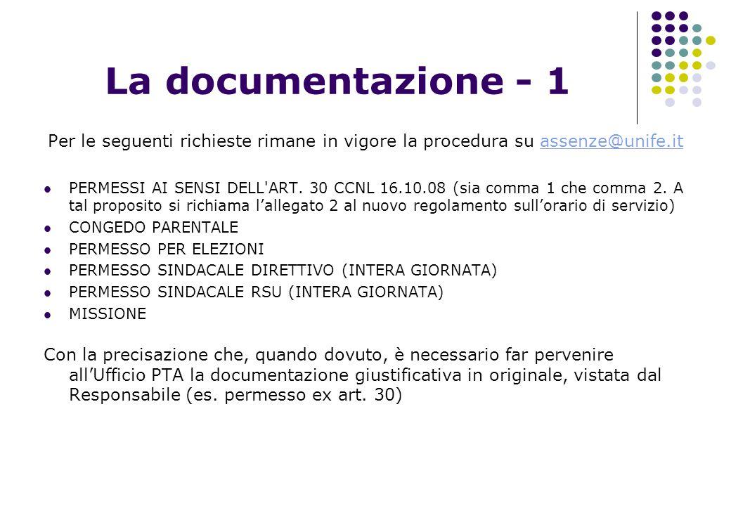 La documentazione - 1 Per le seguenti richieste rimane in vigore la procedura su assenze@unife.itassenze@unife.it PERMESSI AI SENSI DELL'ART. 30 CCNL