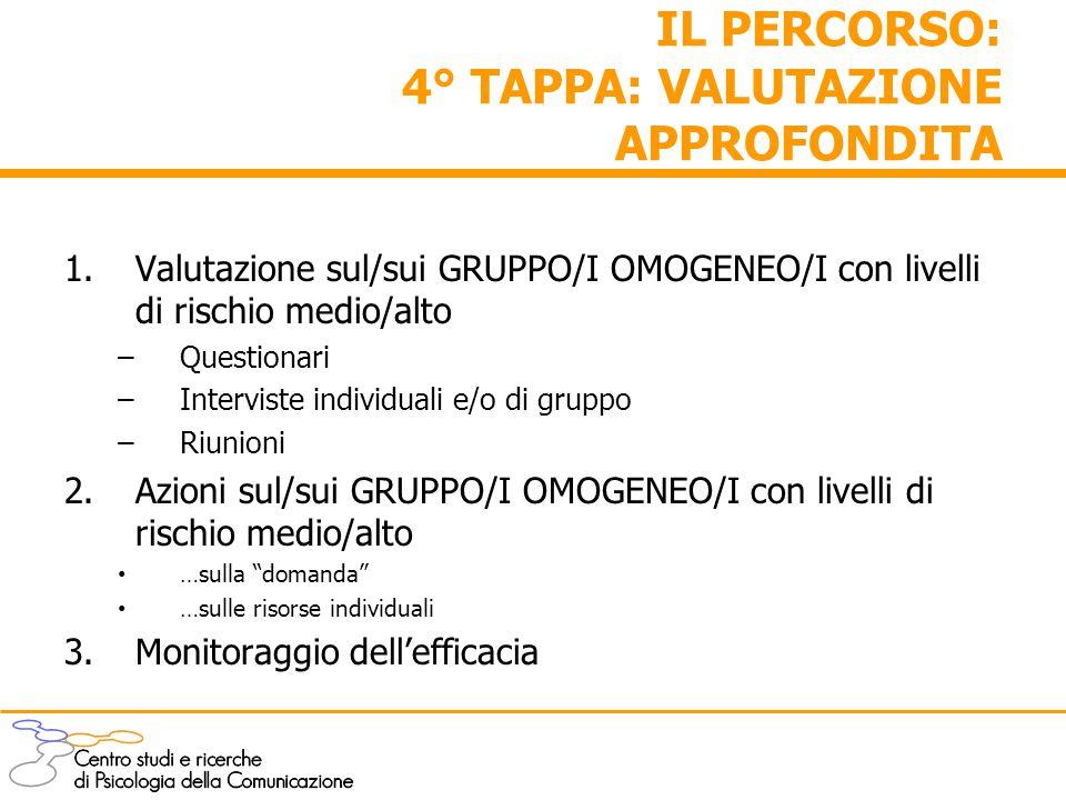 IL PERCORSO: 4° TAPPA: VALUTAZIONE APPROFONDITA 1.Valutazione sul/sui GRUPPO/I OMOGENEO/I con livelli di rischio medio/alto –Questionari –Interviste i