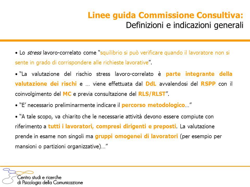 """Linee guida Commissione Consultiva: Definizioni e indicazioni generali Lo stress lavoro-correlato come """"squilibrio si può verificare quando il lavorat"""