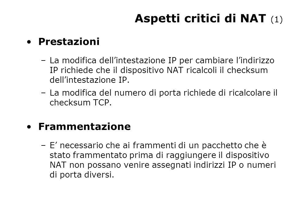 Aspetti critici di NAT (1) Prestazioni –La modifica dell'intestazione IP per cambiare l'indirizzo IP richiede che il dispositivo NAT ricalcoli il checksum dell'intestazione IP.