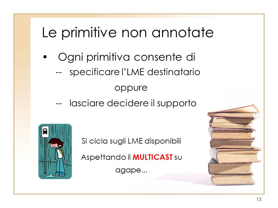 13 Le primitive non annotate Ogni primitiva consente di -- specificare l'LME destinatario oppure -- lasciare decidere il supporto Si cicla sugli LME disponibili Aspettando il MULTICAST su agape...