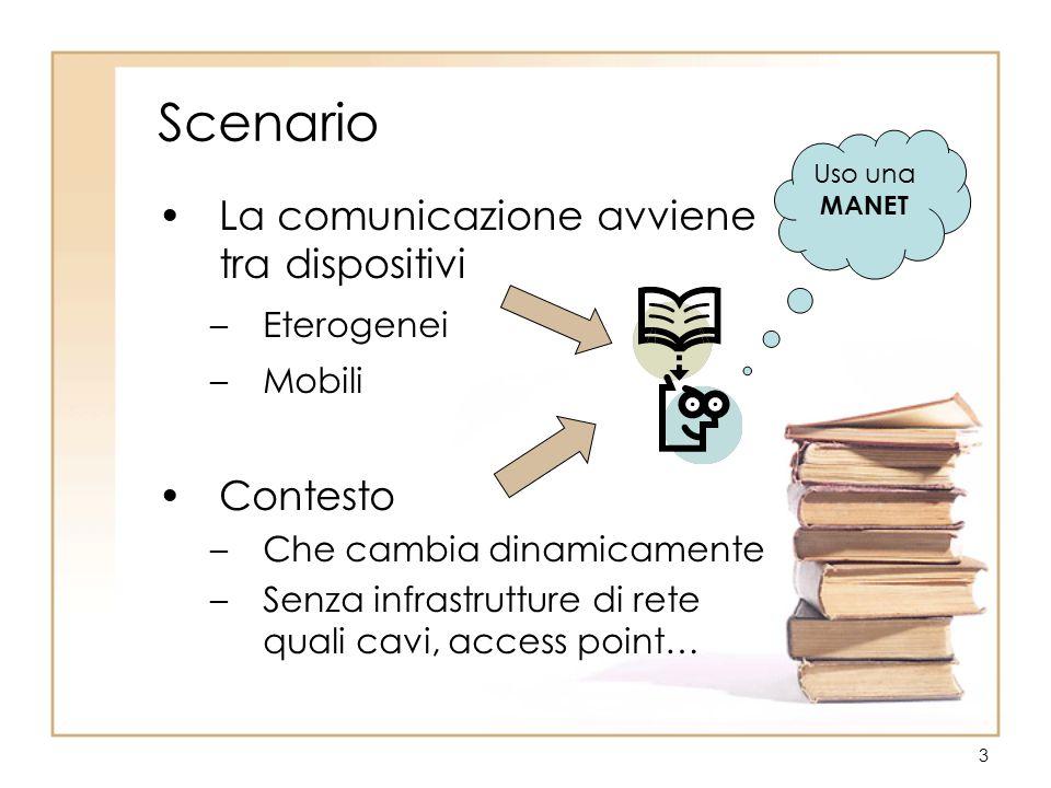 3 Scenario La comunicazione avviene tra dispositivi –Eterogenei –Mobili Contesto –Che cambia dinamicamente –Senza infrastrutture di rete quali cavi, access point… Uso una MANET