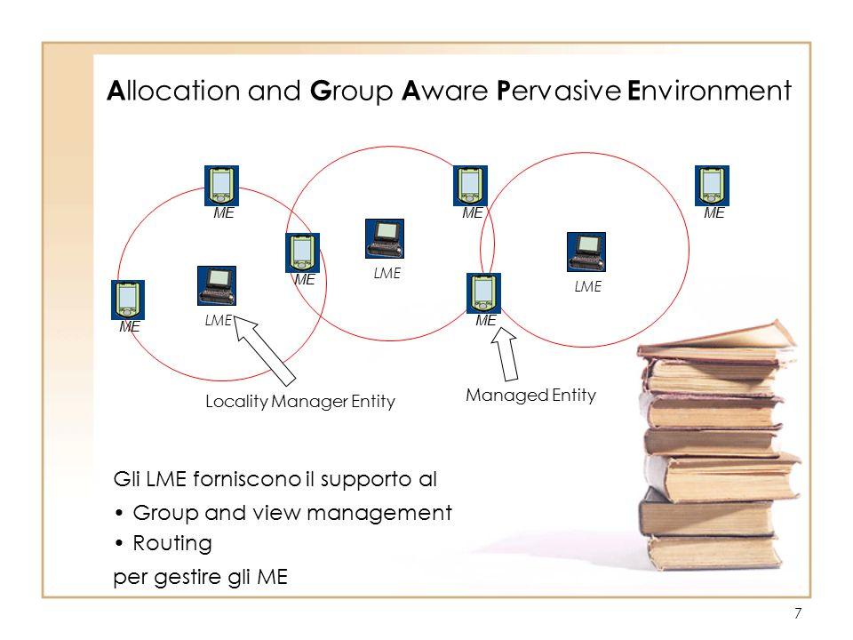 7 LME A llocation and G roup A ware P ervasive E nvironment ME Gli LME forniscono il supporto al Group and view management Routing per gestire gli ME Locality Manager Entity Managed Entity