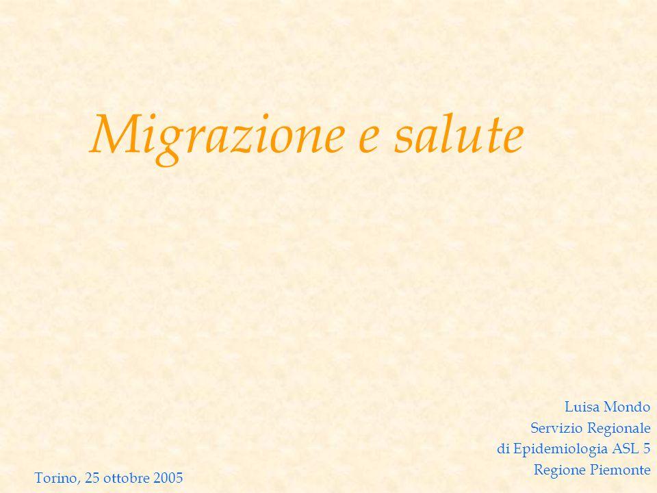 Migrazione e salute Luisa Mondo Servizio Regionale di Epidemiologia ASL 5 Regione Piemonte Torino, 25 ottobre 2005