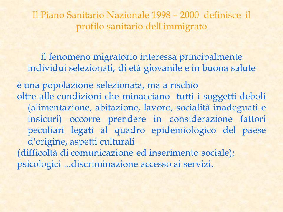Il Piano Sanitario Nazionale 1998 – 2000 definisce il profilo sanitario dell'immigrato il fenomeno migratorio interessa principalmente individui selez