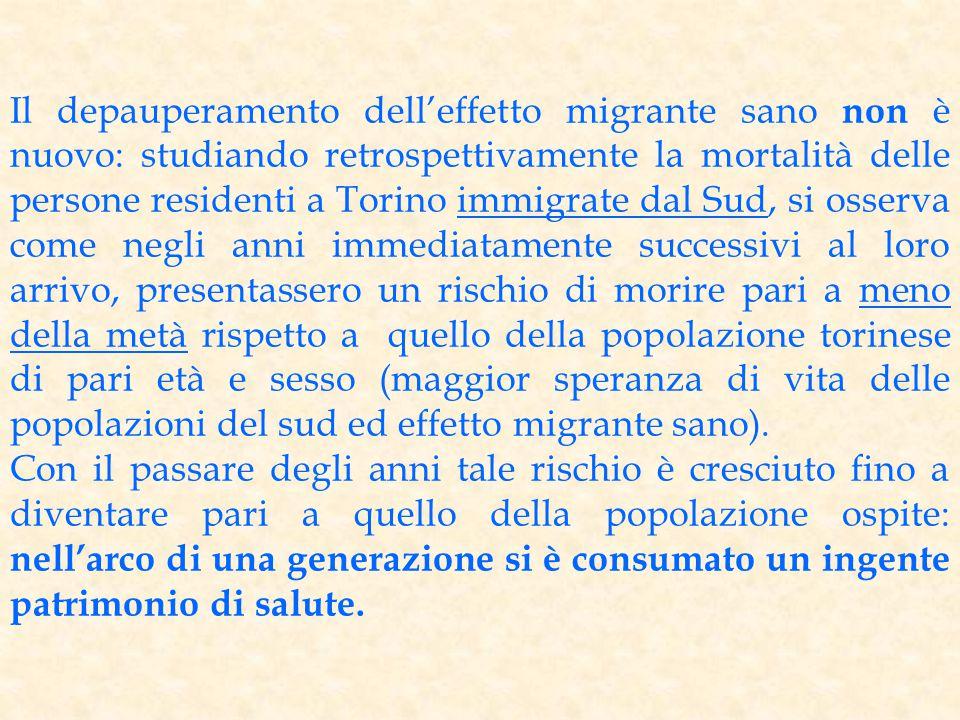 Il depauperamento dell'effetto migrante sano non è nuovo: studiando retrospettivamente la mortalità delle persone residenti a Torino immigrate dal Sud