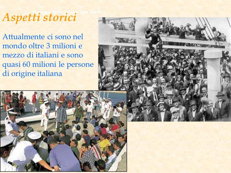 19 maggio 2006 – I Colori della Salute Aspetti storici Attualmente ci sono nel mondo oltre 3 milioni e mezzo di italiani e sono quasi 60 milioni le persone di origine italiana