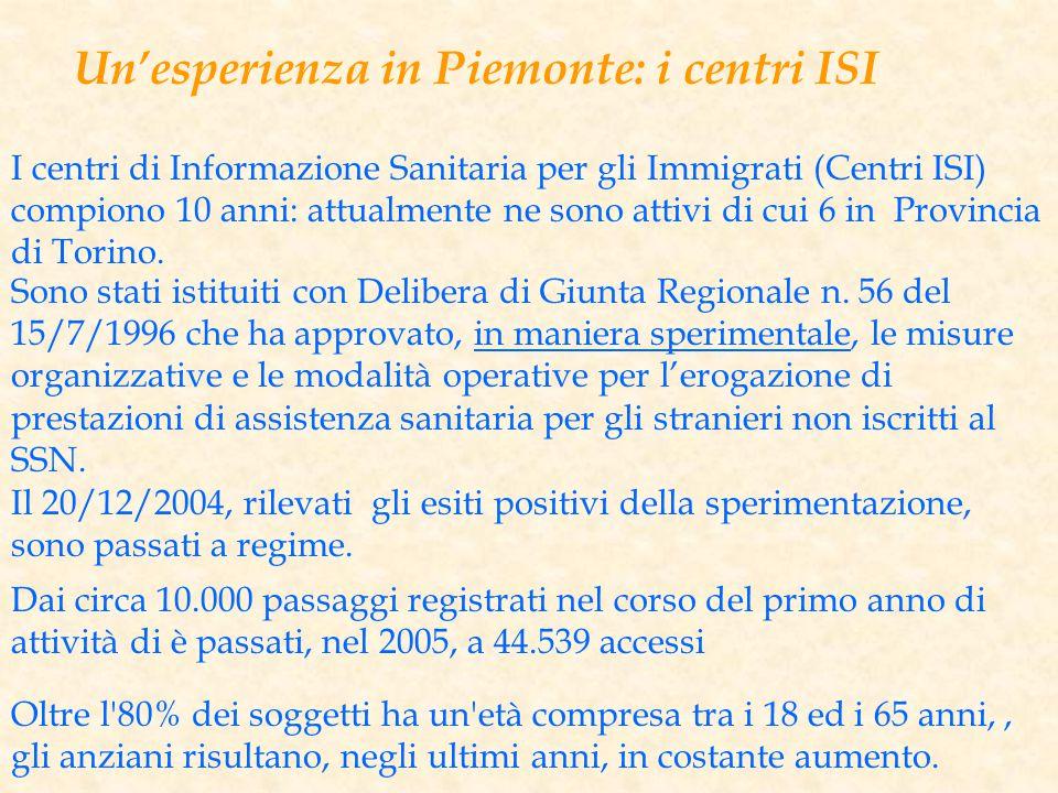 Un'esperienza in Piemonte: i centri ISI I centri di Informazione Sanitaria per gli Immigrati (Centri ISI) compiono 10 anni: attualmente ne sono attivi