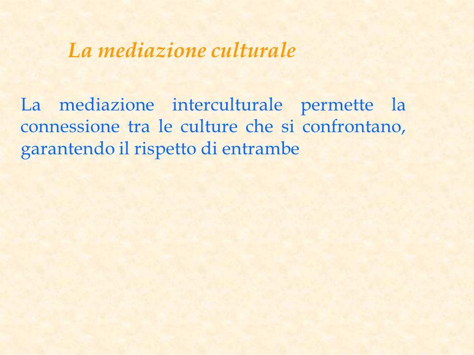 La mediazione culturale La mediazione interculturale permette la connessione tra le culture che si confrontano, garantendo il rispetto di entrambe