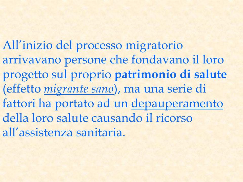 All'inizio del processo migratorio arrivavano persone che fondavano il loro progetto sul proprio patrimonio di salute (effetto migrante sano ), ma una