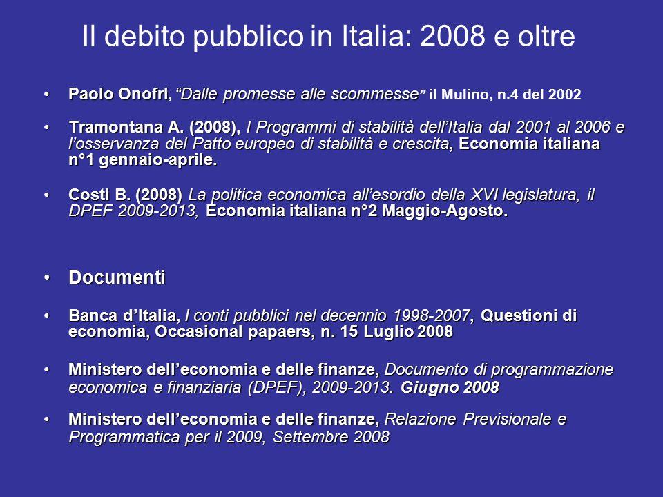 Il debito pubblico in Italia: 2008 e oltre Paolo Onofri Dalle promesse alle scommessePaolo Onofri, Dalle promesse alle scommesse il Mulino, n.4 del 2002 Tramontana A.