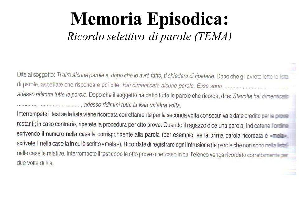 Memoria Episodica: Ricordo selettivo di parole (TEMA)