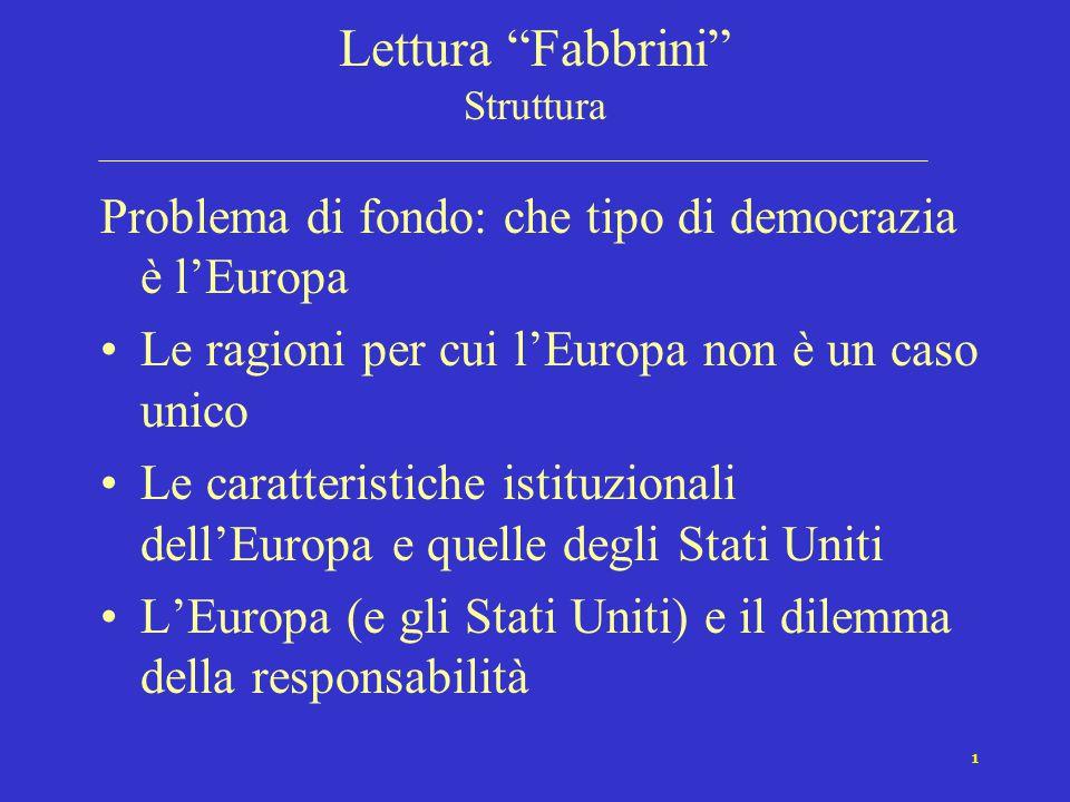 """1 Lettura """"Fabbrini"""" Struttura Problema di fondo: che tipo di democrazia è l'Europa Le ragioni per cui l'Europa non è un caso unico Le caratteristiche"""