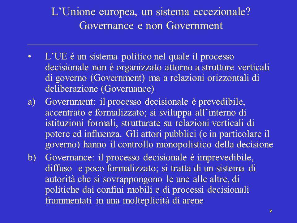 2 L'Unione europea, un sistema eccezionale? Governance e non Government L'UE è un sistema politico nel quale il processo decisionale non è organizzato