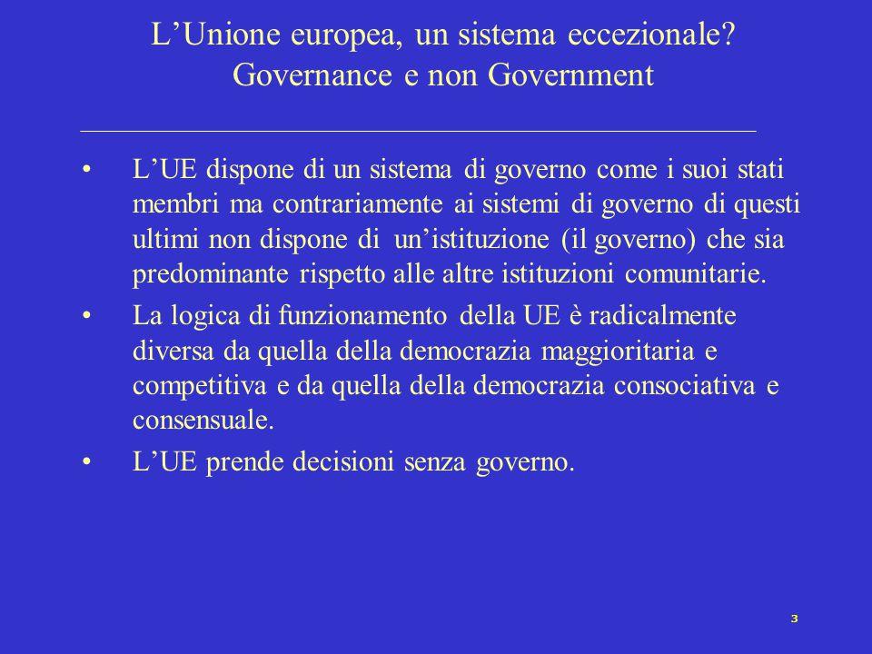 3 L'Unione europea, un sistema eccezionale? Governance e non Government L'UE dispone di un sistema di governo come i suoi stati membri ma contrariamen