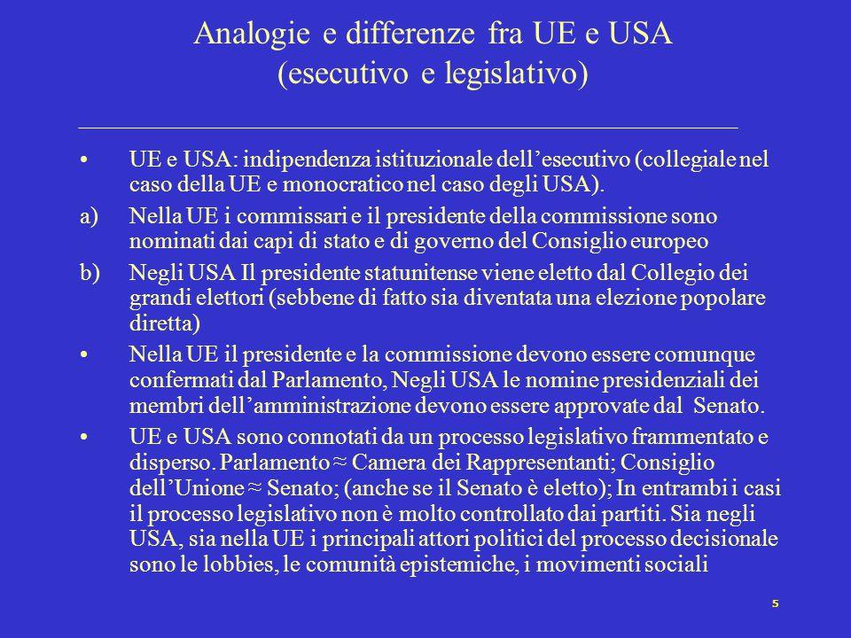 6 Analogie e differenze fra UE e USA relazioni territoriali e giudiziario UE e USA: Il potere politico è distribuito a livello territoriale tra le singole unità costituenti e le istituzioni centrali secondo criteri insieme federali e confederali: in entrambi i casi autogoverno (self-government) e governo condiviso (shared-government) si combinano).