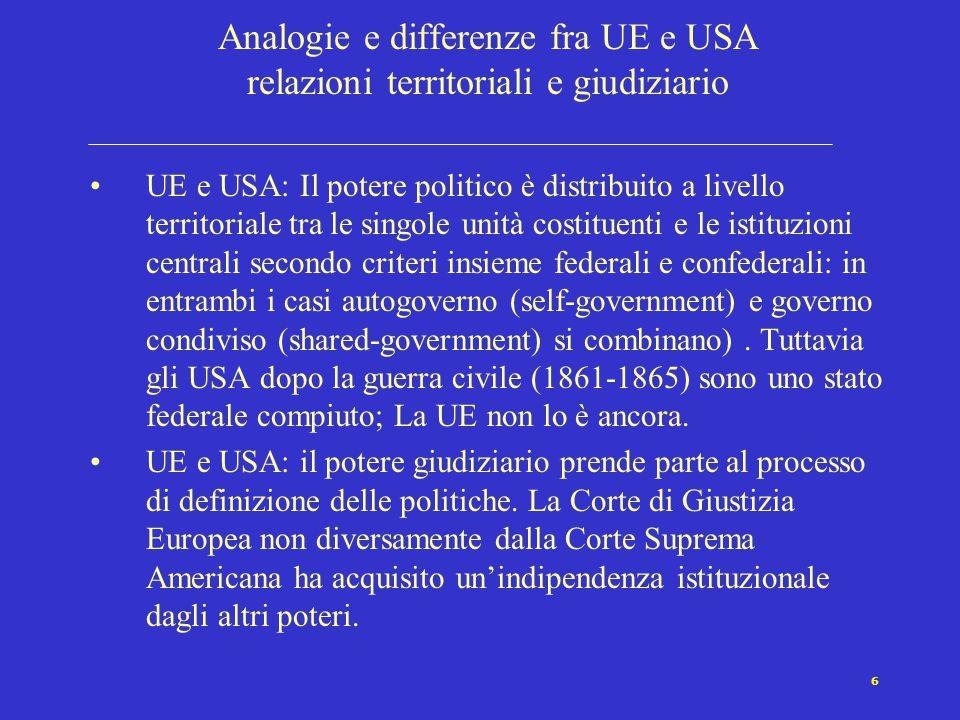 6 Analogie e differenze fra UE e USA relazioni territoriali e giudiziario UE e USA: Il potere politico è distribuito a livello territoriale tra le sin