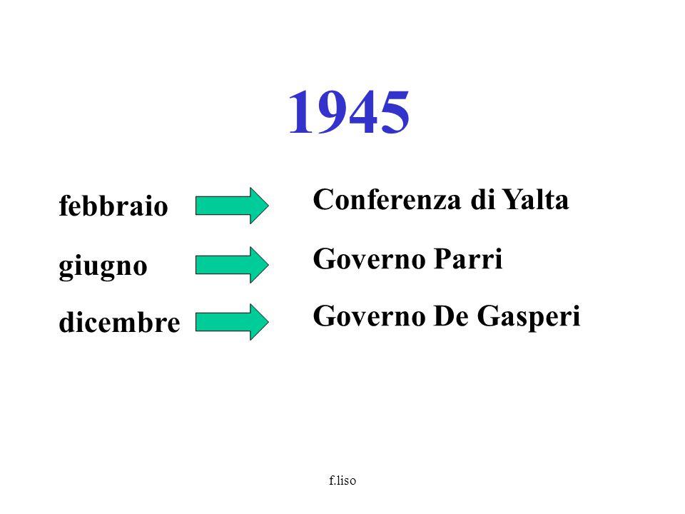 f.liso 1945 febbraio Conferenza di Yalta giugno Governo Parri dicembre Governo De Gasperi