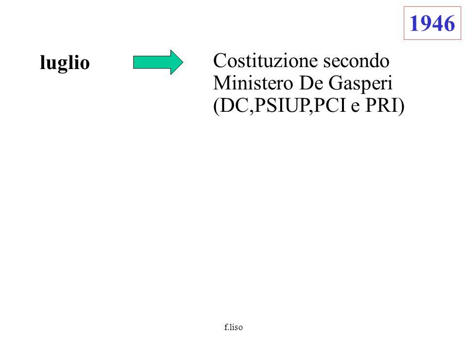 f.liso luglio Costituzione secondo Ministero De Gasperi (DC,PSIUP,PCI e PRI) 1946
