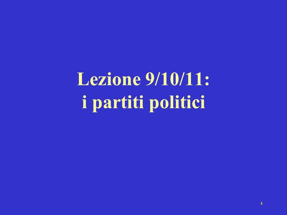 1 Lezione 9/10/11: i partiti politici
