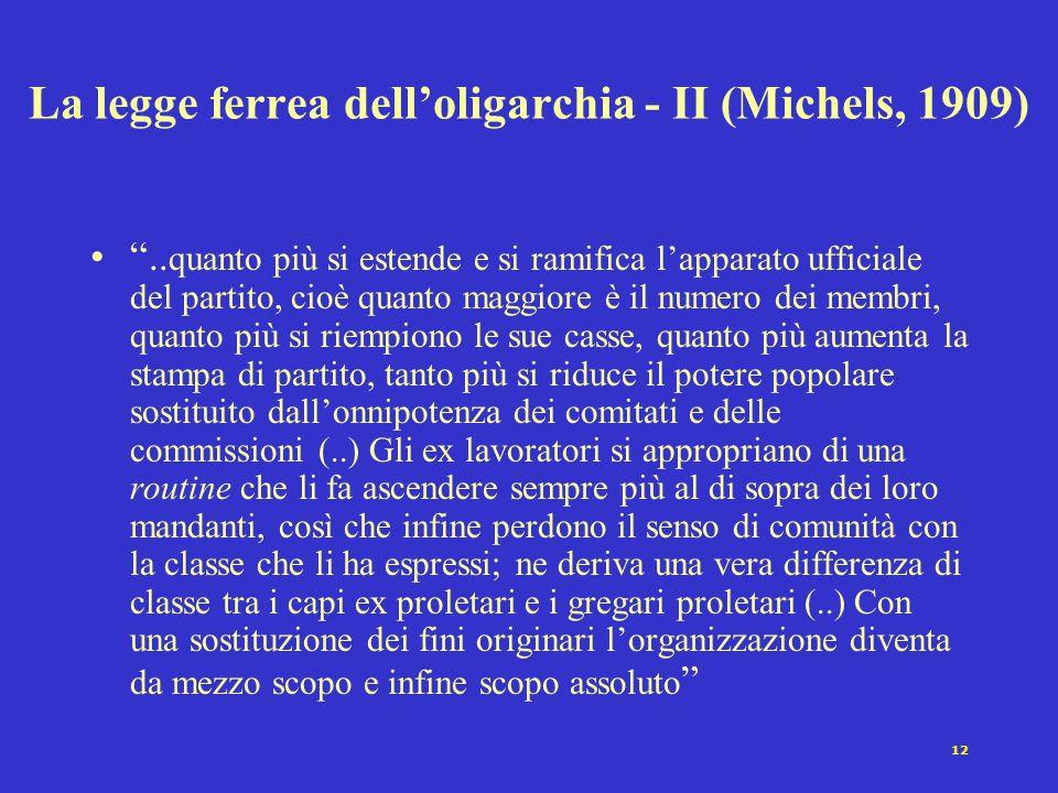 """12 La legge ferrea dell'oligarchia - II (Michels, 1909) """".. quanto più si estende e si ramifica l'apparato ufficiale del partito, cioè quanto maggiore"""