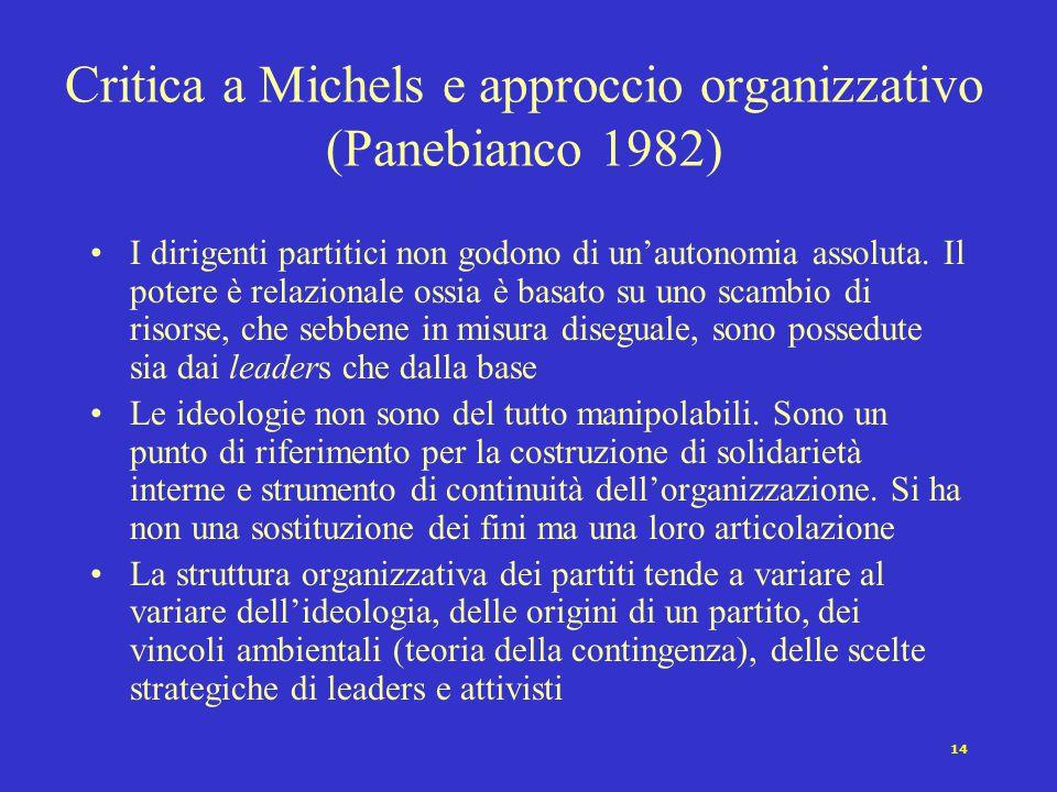 14 Critica a Michels e approccio organizzativo (Panebianco 1982) I dirigenti partitici non godono di un'autonomia assoluta. Il potere è relazionale os