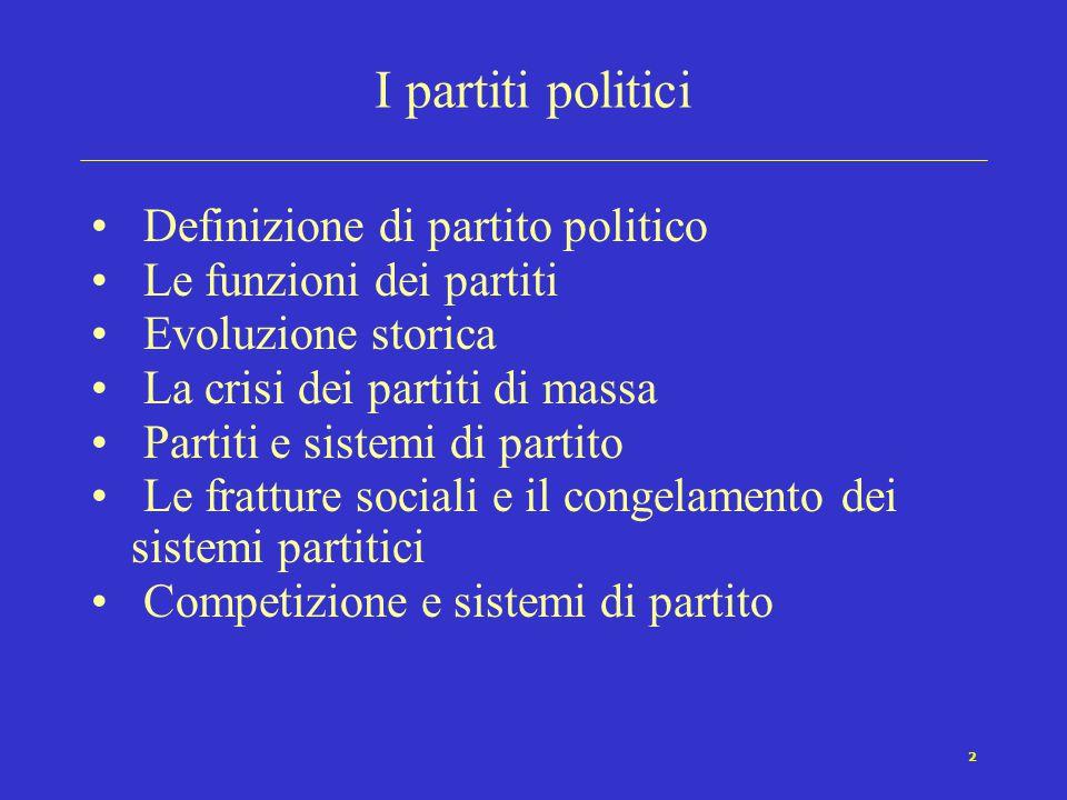 2 I partiti politici Definizione di partito politico Le funzioni dei partiti Evoluzione storica La crisi dei partiti di massa Partiti e sistemi di par