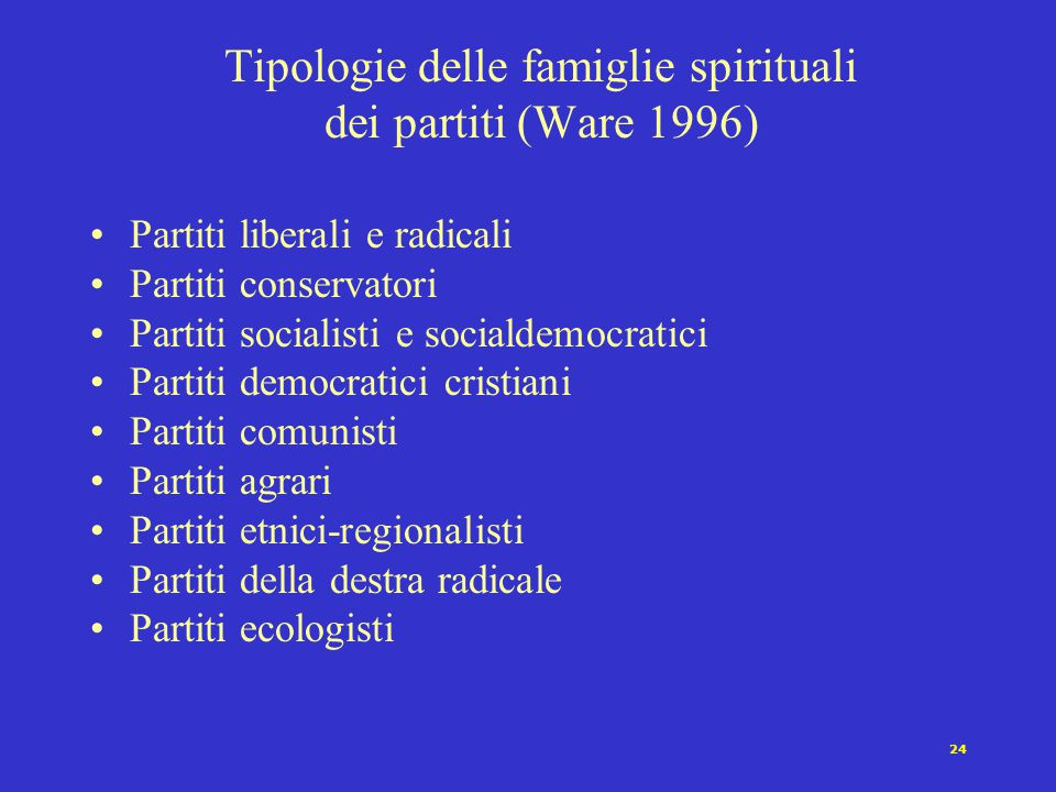 24 Tipologie delle famiglie spirituali dei partiti (Ware 1996) Partiti liberali e radicali Partiti conservatori Partiti socialisti e socialdemocratici