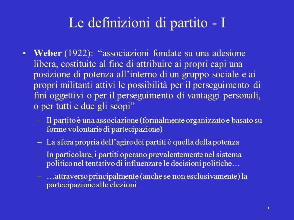 """3 Le definizioni di partito - I Weber (1922): """"associazioni fondate su una adesione libera, costituite al fine di attribuire ai propri capi una posizi"""