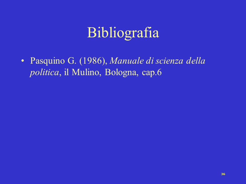36 Bibliografia Pasquino G. (1986), Manuale di scienza della politica, il Mulino, Bologna, cap.6